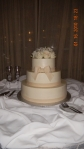 The couple choose Red Velvet cake and White velvet raspberry for the bottom tier.